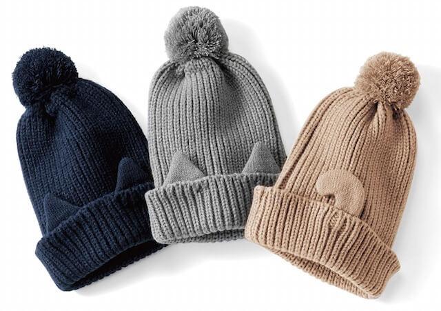 3カラーの猫耳ニット帽