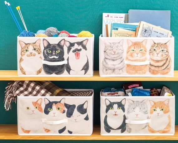 猫の「香箱座り」をデザインした収納ボックス
