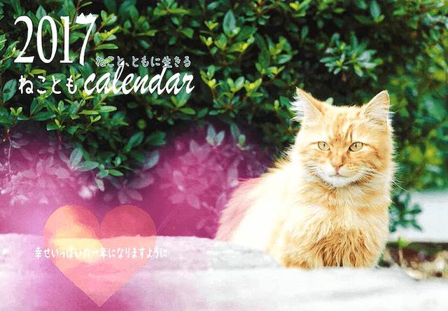福岡ねこともの会が販売している、2017年のチャリティー猫カレンダー