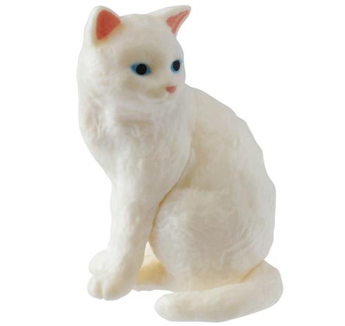 猫フィギュア「ふりむき猫」白猫バージョン