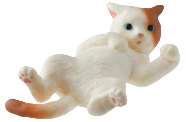 猫フィギュア「ふりむき猫」茶白猫バージョン
