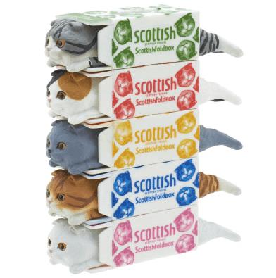 猫フィギュア、スコティッシュティッシュの5段重ね