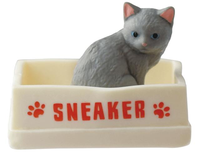 猫フィギュア「ふりむき猫」グレー子猫バージョン