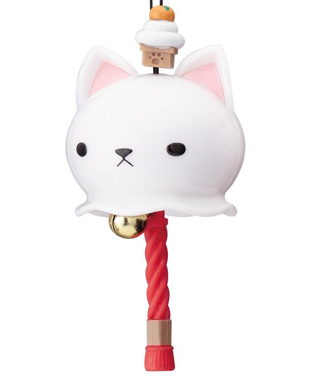 カプセルトイ「開運招福 にゃんこ鈴」白猫×鏡餅