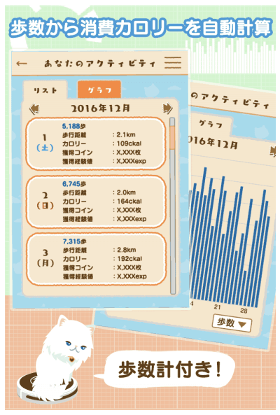 歩数計で歩数、消費カロリー、移動距離を確認できるゲームアプリ「にゃん歩計」