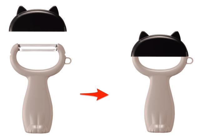 貝印のNyammy(ニャミー)、カバーを付けると猫が座っているように見えるピーラー