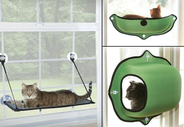吸盤で窓に設置できる猫ベッド、EZ マウント ウィンドウ