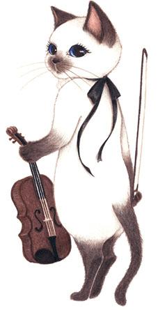 キャットシンフォニカのビオラ奏者、シャム猫のシャロン・ル・ブラン