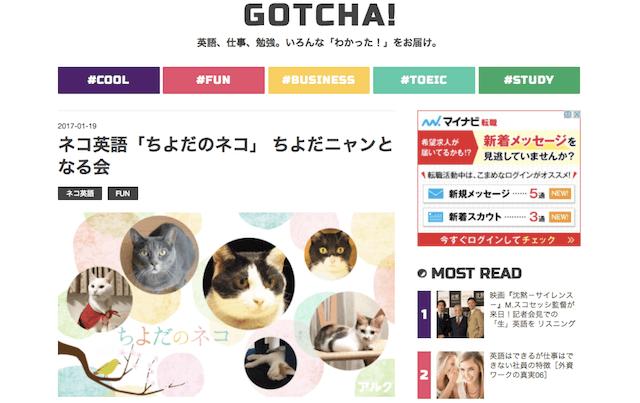 ネコに関する言葉で英語を学べる「GOTCHA!(ガチャ)」