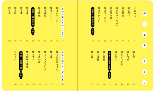 書籍「猫と田中」の目次