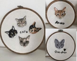 木之村美穂氏が製作した猫の刺繍作品