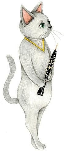 キャットシンフォニカのオーボエ奏者、ロシアンブルーのクラウディア・デ・パルマ