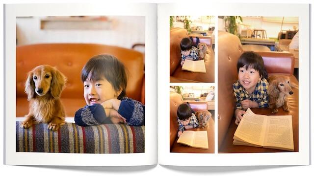 「PhotoJewel S(フォトジュエル・エス)」で作成したペットと家族のフォトアルバム