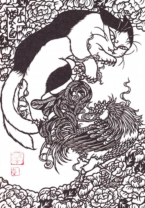 松風直美の猫作品「きりえ 波山猫又之図」