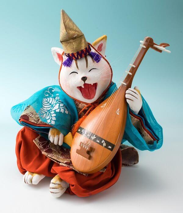 石渡いくよの猫作品「語り部 琵琶法師」