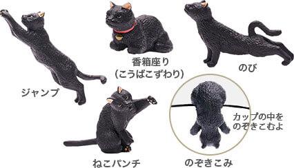 猫フィギュア「ふちねこ」のポーズはフィギュアのポーズは「ジャンプ」「香箱座り」「のび」「ねこパンチ」「のぞきこみ」の5種類