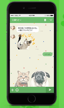 岩合さんのLINE猫スタンプとネコ着せかえを併用したイメージ