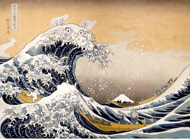 富嶽三十六景をモチーフにした鈴木博雄氏の猫作品「神奈川沖猫鼠合戦図」