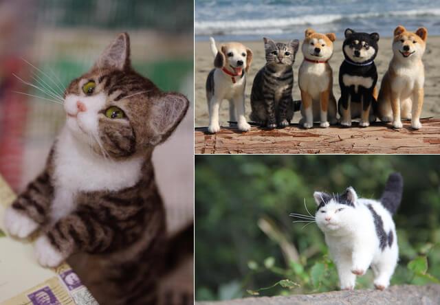 リアルな猫作品など約200点を展示!中山みどりフェルトアート展