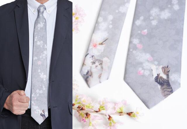 猫好きな男性に贈りたい、サクラ×猫デザインのネクタイが登場