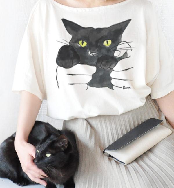 オンラインストア「quote (クオート)」オリジナル、黒猫の「クロダヌキ」Tシャツ