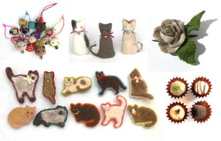 猫毛フェルトのリクエスト教室で作る作品イメージ