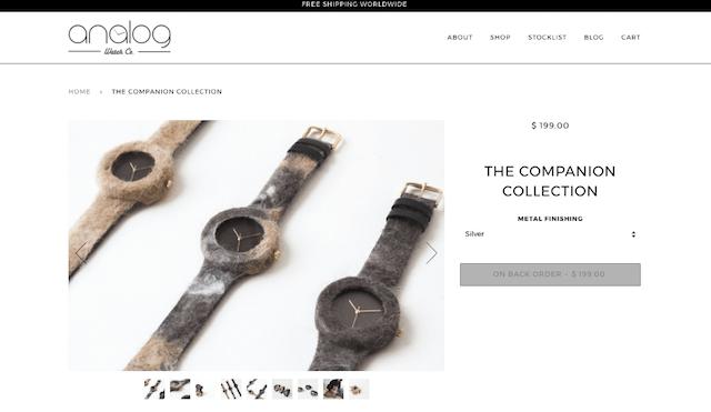 時計メーカーAnalog Watch Co.のサイト