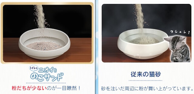 粉塵や粉が舞いにくい猫砂「トイレにニオイをのこサンド」