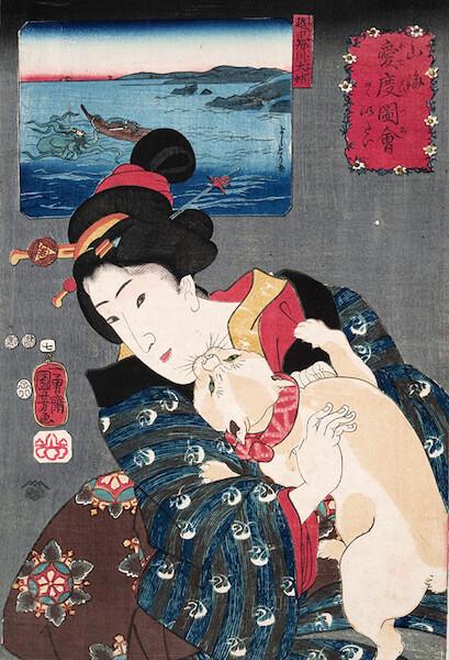 歌川国芳 山海愛度図会七 ヲゝいたい 越中滑川大蛸 嘉永五年(1852)