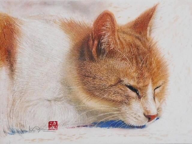 クレヨン画家・市来功成氏によるリアルな猫の絵画展が開催