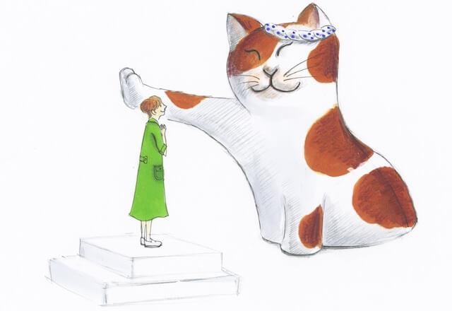 日本橋三越本店で高さ約3メートルの3D猫が出現して「壁ドン」を体験