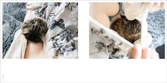 写真集「パイニャン」、女性の服の中でくつろぐ猫