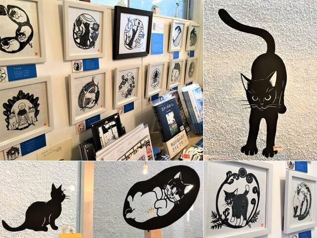 かわいい猫の切り絵が満載、きりえや高木亮氏の個展が開催中