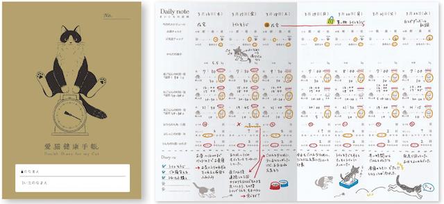 愛猫健康手帳の表紙と日々の記録ページ