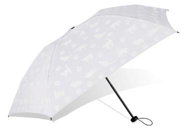 雨が降っていない時は傘の表面に白猫が見える