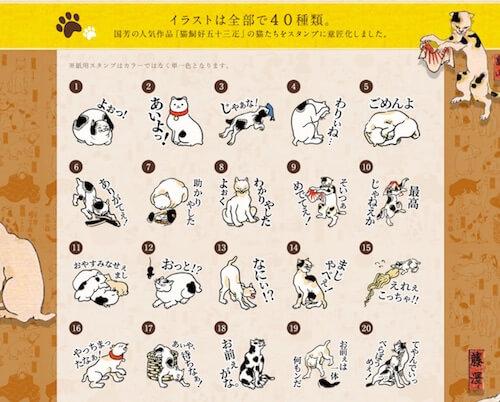 歌川国芳「猫飼好五十三疋」の猫スタンプのイラスト1〜20