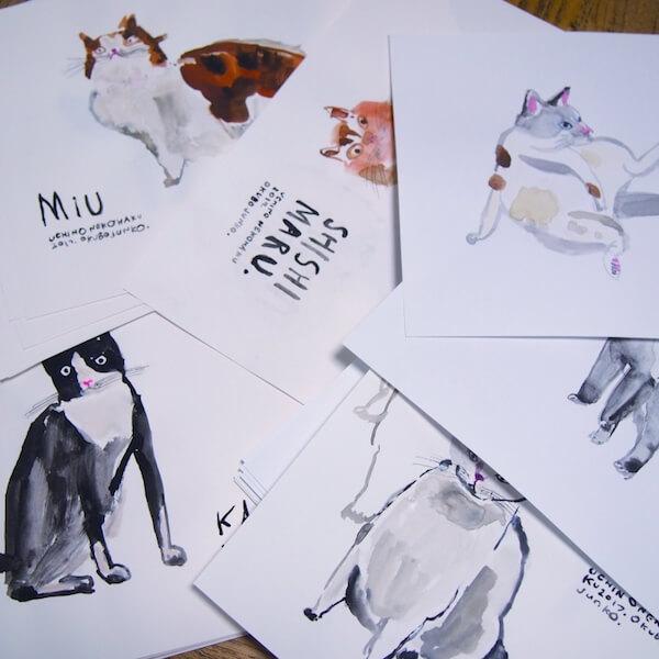 うちの猫博Vol.2で選ばれた猫写真のイラスト原画