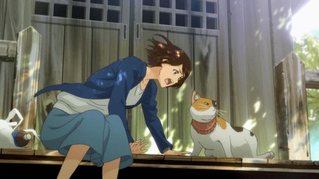 アニメ『猫がくれたまぁるいしあわせ』の放映シーン