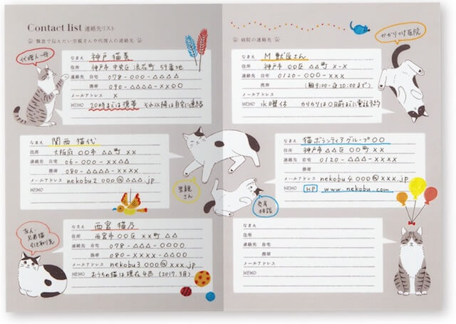 愛猫健康手帳、連絡先リスト