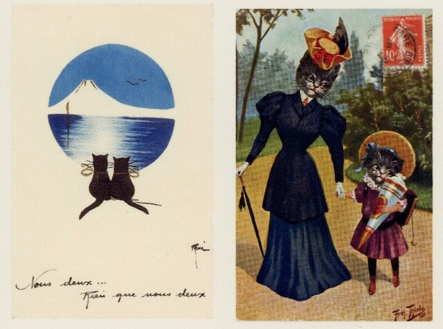 「猫の絵葉書展」で展示されている猫の絵ハガキ2