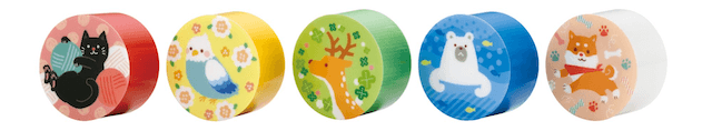 ディアキチ ワザアリテープ(テープホルダー付き)動物柄5種
