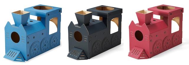 機関車型の猫ハウスのカラーバリエーション