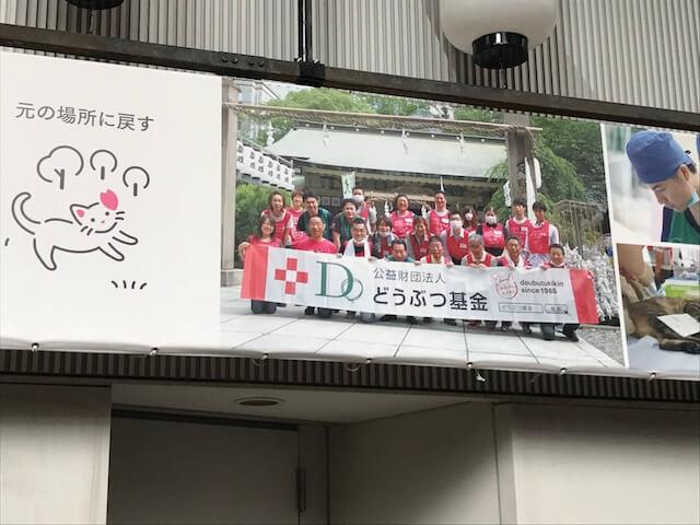 曽根崎お初天神通商店街アーケードの「どうぶつ基金」紹介パネル