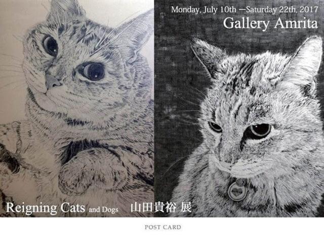 画家・山田貴裕氏の個展、ペンで描いたリアルな猫の作品展が開催中