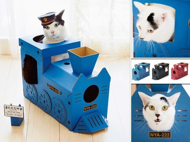 気分は車掌さんですニャ!インスタ映えしそうな機関車型の猫ハウス