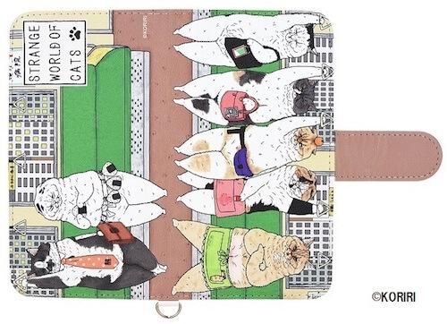 KORIRIさんデザインによる、サラリーマン「くまお」のスマートフォンケース満員電車