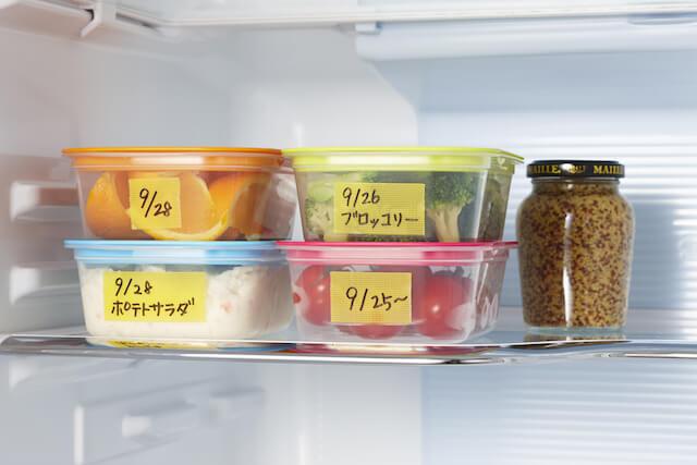 ディアキチ ワザアリテープの用途例、冷蔵庫に入れた保存容器にラベリング