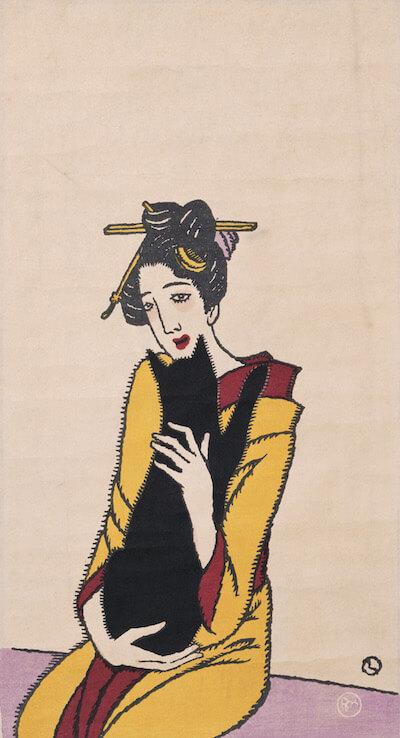 竹久夢二《黒猫を抱く女》(柳屋版)1920年