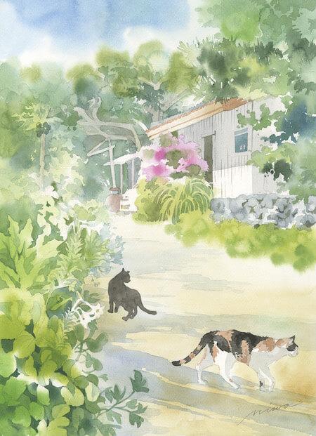 青木美和さんの透明水彩画作品、田舎の風景と猫たち