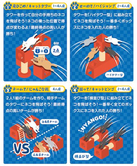 「飛ぶニャン! ネコとばし」で遊べるゲームは4種類